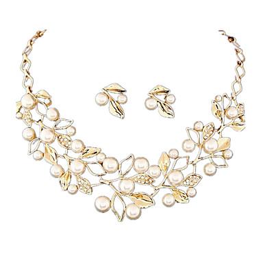 ジュエリーセット 真珠 結婚式 ファッション 欧風 高級ジュエリー 真珠 模造ダイヤモンド ゴールド シルバー 1×ネックレス 1×イヤリング(ペア) のために 結婚式 日常 1セット ウェディングギフト