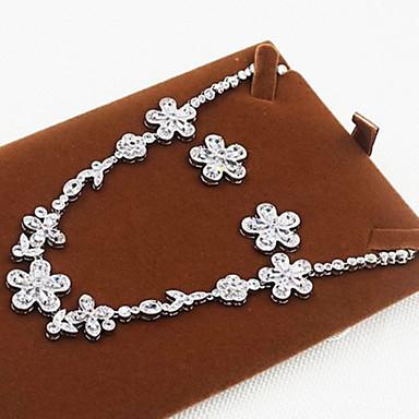 Zirkon Kubikzirkonia Silber Halsketten Ohrringe Für Party 1 Set Hochzeitsgeschenke