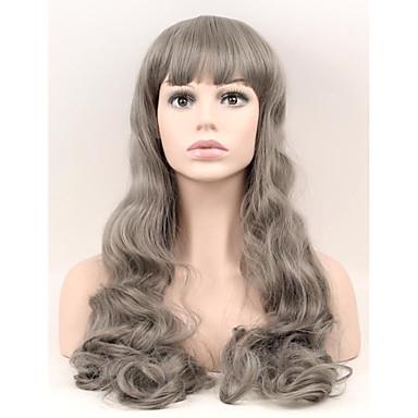 女性 人工毛ウィッグ キャップレス ロング丈 非常に長いです ナチュラルウェーブ グレイ ナチュラルウィッグ コスチュームウィッグ