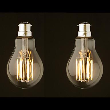 abordables Ampoules électriques-ONDENN 2pcs 8 W Ampoules à Filament LED 800 lm B22 G60 8 Perles LED COB Intensité Réglable Blanc Chaud 220-240 V 110-130 V / 2 pièces / RoHs