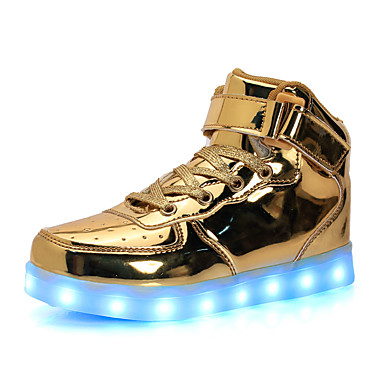Gutt sko PU Vår Høst Komfort Lysende sko Treningssko Magisk teip Til Avslappet Hvit Svart Sølv Rød Gylden