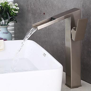 Moderne Art déco/Retro Modern Mittellage Wasserfall Keramisches Ventil Ein Loch Einhand Ein Loch Gebürsteter Nickel , Waschbecken