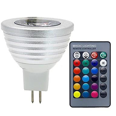 billige Dekorasjonspærer-3 W LED-spotpærer 280 lm GU5.3(MR16) MR16 1 LED perler COB Mulighet for demping Fjernstyrt Dekorativ RGB 12 V / 1 stk. / RoHs