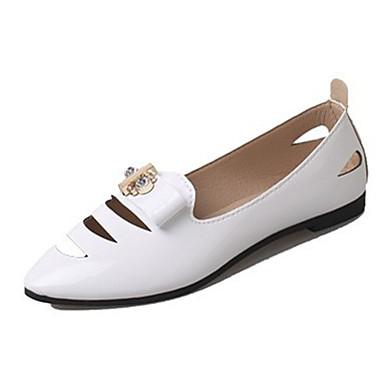 Damen Flache Schuhe Komfort PU Herbst Normal Komfort Schleife Flacher Absatz Weiß Schwarz Grau Rosa Flach