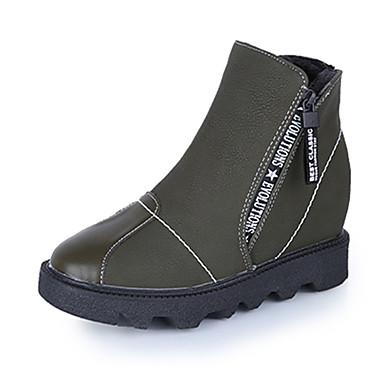 Damen-Stiefel-Büro Kleid Lässig-PU-Niedriger Absatz-Komfort-Schwarz Grau Grün