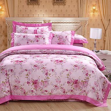 Bettbezug-Sets Massiv 1 Stück Polyester / Baumwolle Reaktivdruck Polyester / Baumwolle 4-teilig (1 Bettbezug, 1 Bettlaken, 2 Kissenbezüge)