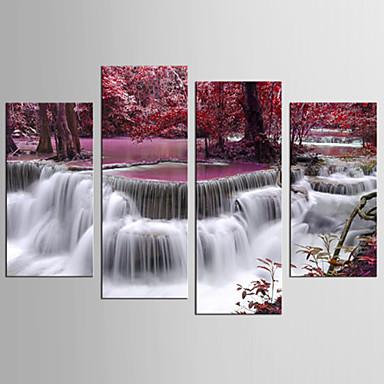 billige Trykk-Trykk Valset lerretskunst - Landskap Blomstret / Botanisk Realisme Moderne Fire Paneler Kunsttrykk