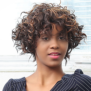 Highlight afro lockige synthetische Perücke schräge Bang