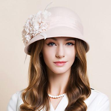 billige Hodeplagg til fest-Ull / Chiffon / Fjær Kentucky Derby Hat / fascinators / Hatter med Blomster 1pc Bryllup / Spesiell Leilighet / Avslappet Hodeplagg