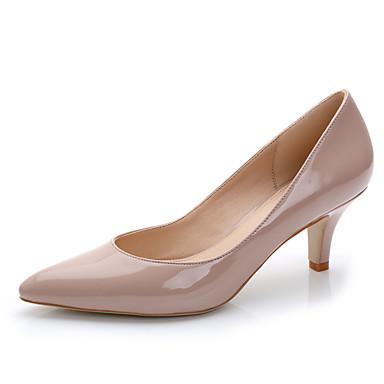 Mulheres Sapatos Couro Envernizado Primavera / Verão Saltos Salto Agulha Dedo Apontado Preto / Vermelho / Rosa Claro / Casamento / Social