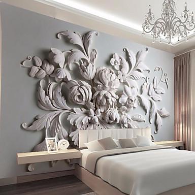 billige Veggkunst-stor floral avtagbar peeling og pinne tapeter veggmural selvklebende tapet 3d kunst innredning veggdekning