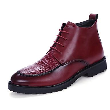 Bootsit-Tasapohja-Miesten-PU-Musta Punainen-Rento-Comfort