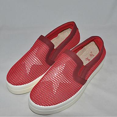 Damen-Loafers & Slip-Ons-Outddor Lässig-PU-Flacher Absatz-Komfort-Schwarz Rot
