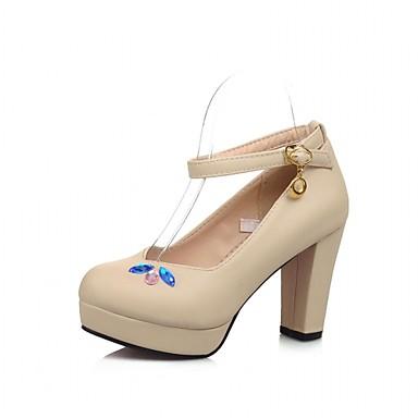Damen Schuhe Lackleder Kunstleder Frühling Sommer Herbst Komfort Neuheit High Heels Walking Blockabsatz Runde Zehe Strass Für Hochzeit
