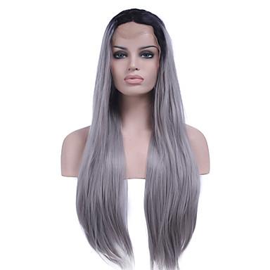 Synteettiset pitsireunan peruukit Suora Synteettiset hiukset Luonnollinen hiusviiva Harmaa Peruukki Naisten Lace Front