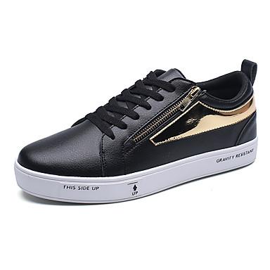 Herren-Sneaker-Büro Lässig Sportlich-Kunstleder-Flacher Absatz-Andere-Schwarz Weiß Silber
