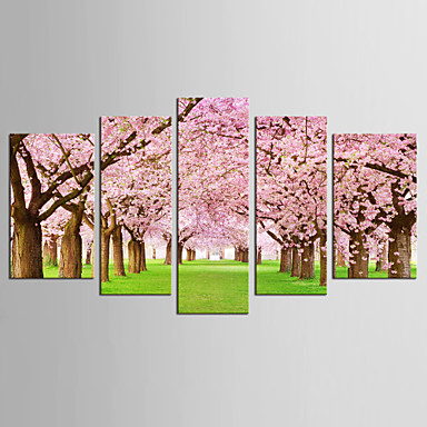 Kjent Blomstret/Botanisk Moderne Realisme, Fem Paneler Lerret enhver form Trykk