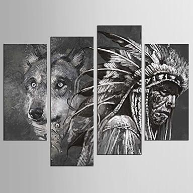 Leinwand-Set Abstrakt Tier Klassisch Europäischer Stil,Vier Panele Leinwand Jede Form Druck-Kunst Wand Dekoration For Haus Dekoration