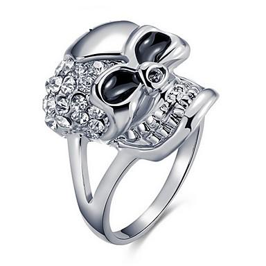 Damen Ring - Zirkon, Diamantimitate, 18K vergoldet Totenkopf Silber