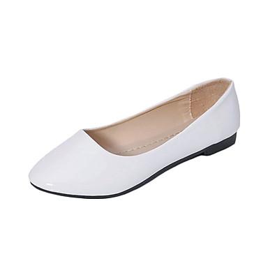 Damen Schuhe PU Winter Herbst Komfort Loafers & Slip-Ons Niedriger Heel Runde Zehe für Normal Beige Purpur Rot Blau Rosa