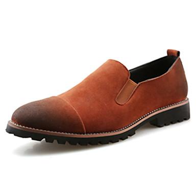 Homens sapatos Couro Ecológico Outono / Inverno Conforto Mocassins e Slip-Ons Preto / Cinzento / Castanho Escuro / Sapatos de camurça