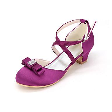 Para Meninas Sapatos Seda Primavera Verão Sapatos para Daminhas de Honra Saltos Pedrarias / Laço para Azul / Champanhe / Ivory