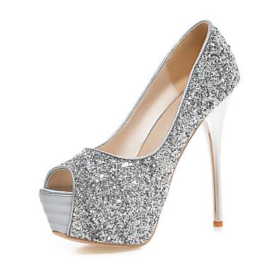 Damen Schuhe Glanz Frühling Sommer Herbst High Heels Stöckelabsatz Peep Toe Paillette Für Hochzeit Normal Party & Festivität Gold Schwarz