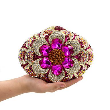 povoljno Današnji popust-Žene Crystal / Rhinestone Večernja torbica Kristalne vrećice od kristalnog kamena Metal Cvijetni print Fuksija