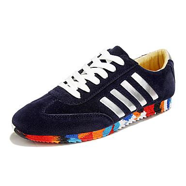Herren-Sneaker-Lässig-Vlies-Flacher Absatz-Komfort-Schwarz Blau