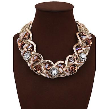 Damen Kristall Statement Ketten - Blume Quaste, Böhmische Gelb Modische Halsketten Für Hochzeit, Party, Geburtstag