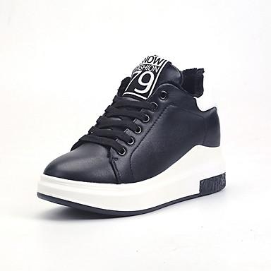 Damen-Sneaker-Lässig-PU-Niedriger Absatz-Komfort-Weiß Schwarz