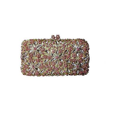 billige Vesker-Dame Krystall / Rhinstein Metall Aftenveske Rhinestone Crystal Evening Bags Blomstermønster Gull / Svart / Sølv / Bryllup Vesker / Bryllup Vesker