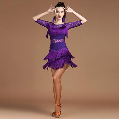 Dança Latina Vestidos Mulheres Espetáculo Elastano Fibra de Leite Renda Recortes Mocassim Meia Manga Alto Vestido