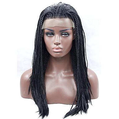 الاصطناعية الباروكات مستقيم شعر مستعار صناعي أسود شعر مستعار دانتيل في الأمام أسود