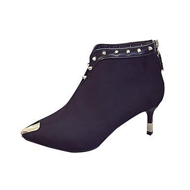 Damen-Stiefel-Kleid Lässig-PU-Blockabsatz Kitten Heel-AbsatzSchwarz Grau