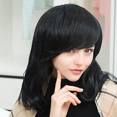 エレガントな快適な長い自然なウェーブのかかった人間の髪の毛のキャップレスかつら