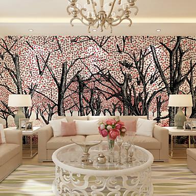 フローラル柄 アールデコ調 3D ホームのための壁紙 現代風 ウォールカバーリング , キャンバス 材料 接着剤必要 壁画 , ルームWallcovering
