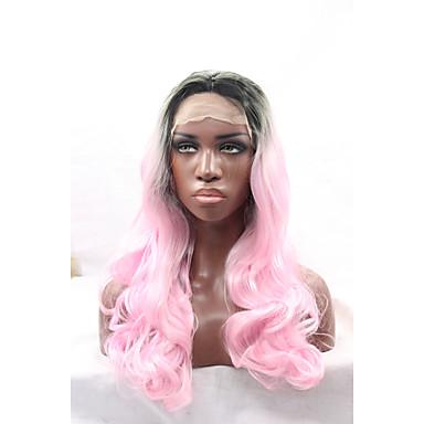 女性 人工毛ウィッグ フロントレース ウェーブ ピンク ナチュラルヘアライン ナチュラルウィッグ コスチュームウィッグ