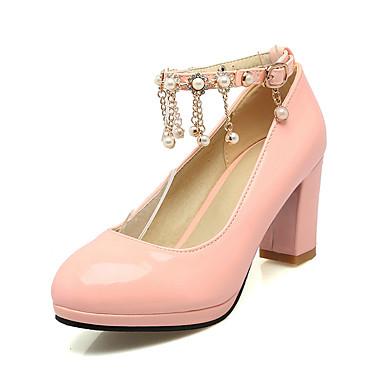 Damen Schuhe Lackleder Frühling Sommer Herbst High Heels Blockabsatz Runde Zehe Perlenstickerei Kette Quaste für Normal Party & Festivität