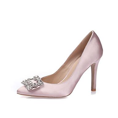 Mulheres Sapatos Seda Primavera Verão Saltos Salto Agulha Dedo Apontado Dedo Fechado Pedrarias Gliter com Brilho para Casamento Social