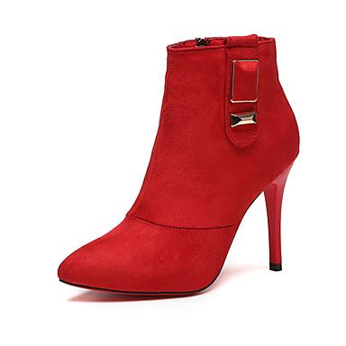 Damen-Stiefel-Lässig-PU-Niedriger Absatz-Komfort-Schwarz Dunkel Braun Rot