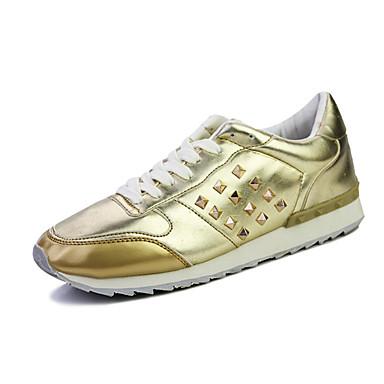 Herren-Sportschuhe-Lässig-PU-Flacher Absatz-Komfort-Schwarz Weiß Gold Mehrfarbig