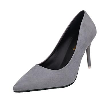 Damen Schuhe PU Frühling High Heels Stöckelabsatz Spitze Zehe für Hochzeit Normal Kleid Schwarz Hellgrau Rot Rosa
