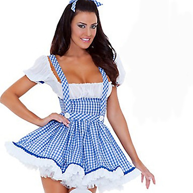 Cosplay Kostüme Party Kostüme Dienstmädchenuniform Karriere Kostüme Film Cosplay Blau einfarbig Kleid Kopfbedeckung Halloween Karneval