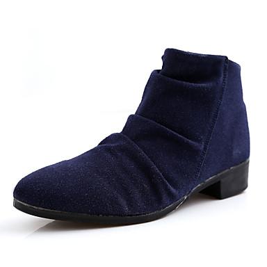 Herre sko Lær Vår Høst Trendy støvler Komfort Støvler Svart Blå Mørkebrun