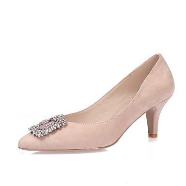 Mujer Zapatos Vellón Primavera / Verano Tacones Tacón Stiletto Dedo Puntiagudo Pedrería / Cristal / Purpurina Negro / Rosa claro / Azul