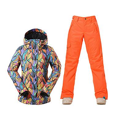GSOU SNOW Damen Skijacken & Hosen Wasserdicht warm halten Windundurchlässig Fleece Innenfutter UV-resistant Reißverschluß vorne