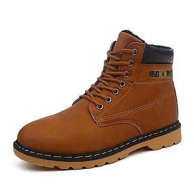Herren Schuhe PU Herbst Winter Komfort Stiefel Schnürsenkel Für Normal Schwarz Grau Dunkelbraun