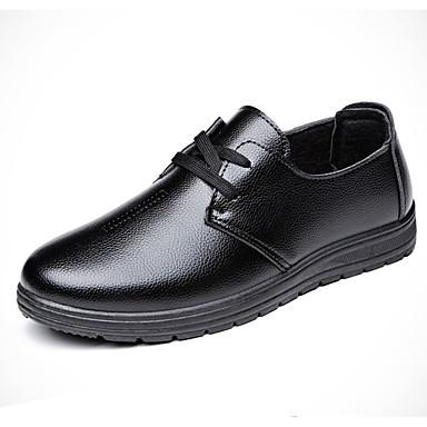 Herre sko PU Vår Høst Komfort Oxfords Gange Svart Mørkebrun
