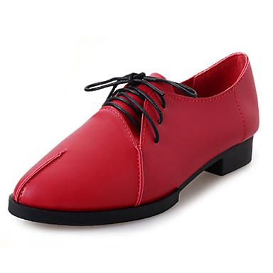 Naiset Oxford-kengät Comfort PU Syksy Kausaliteetti Comfort Solmittavat Tasapohja Valkoinen Musta Punainen Tasapohja